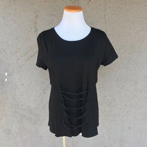 NEW 🌞 black short sleeve w/ laced up waist